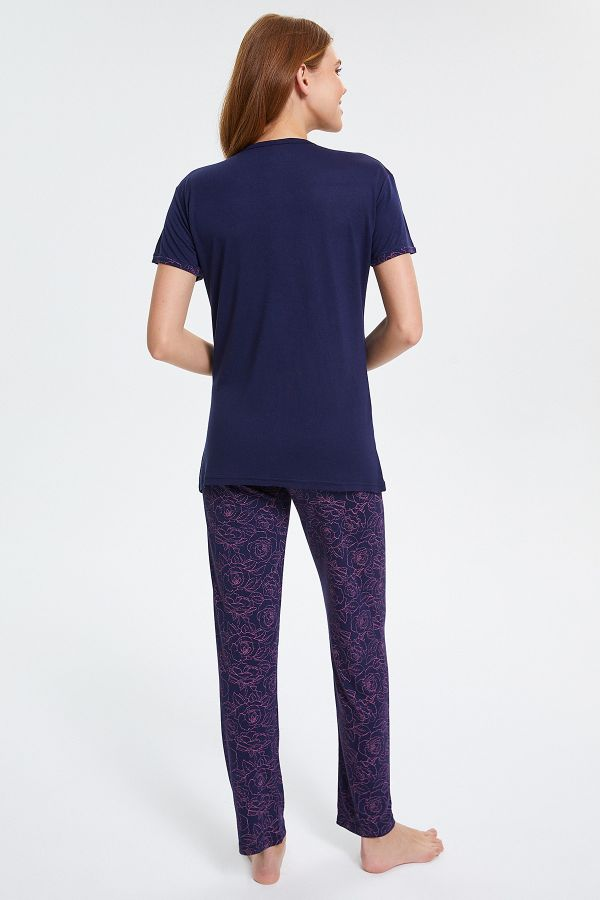 Çiçek Desenli Düğmeli Kısa Kollu Pijama Takımı