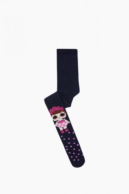 Bross - Bross Çiçekli Lol Desenli Havlu Çocuk Külotlu Çorap