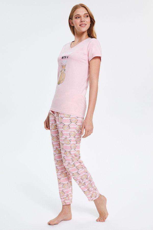 Circled Cat Patterned Short Sleeved Women's Pyjama Sets