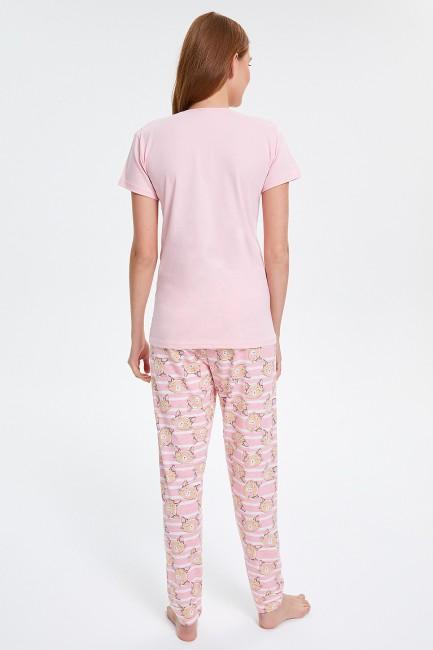 Circled Cat Patterned Short Sleeved Women's Pyjama Sets - Thumbnail