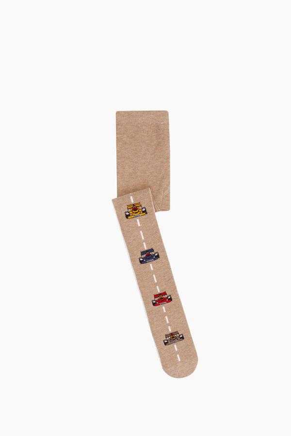 Çizgili Araba Desenli Külotlu Çocuk Çorabı