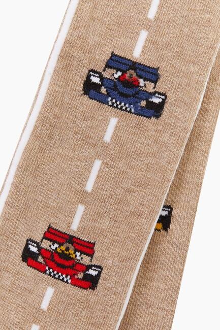 Çizgili Araba Desenli Külotlu Çocuk Çorabı - Thumbnail