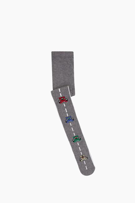 Bross - Çizgili Araba Desenli Külotlu Çocuk Çorabı