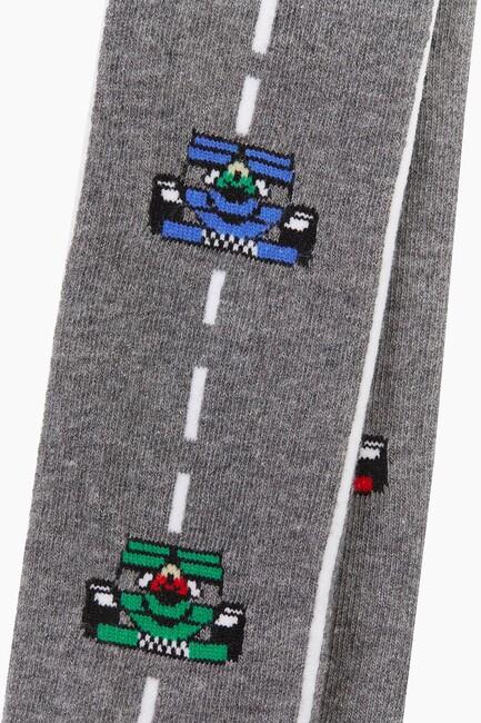 Bross Çizgili Araba Desenli Külotlu Çocuk Çorabı - Thumbnail
