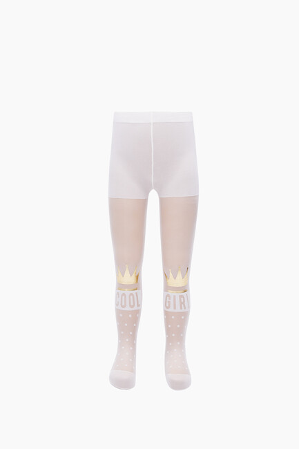 Crown Pattern Thin Kids Tights - Thumbnail
