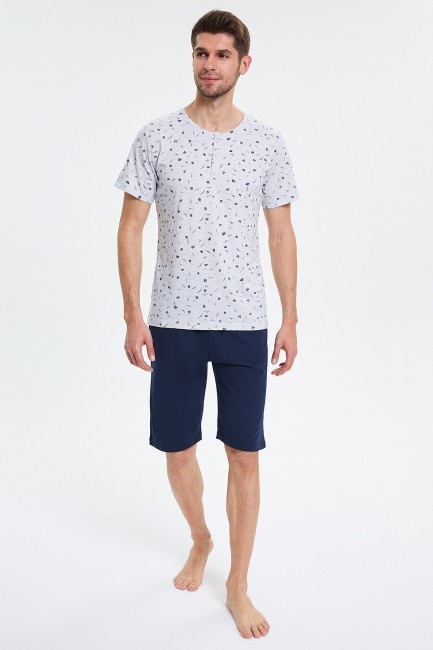 Bross - Patterned Capri Men's Pajamas Set