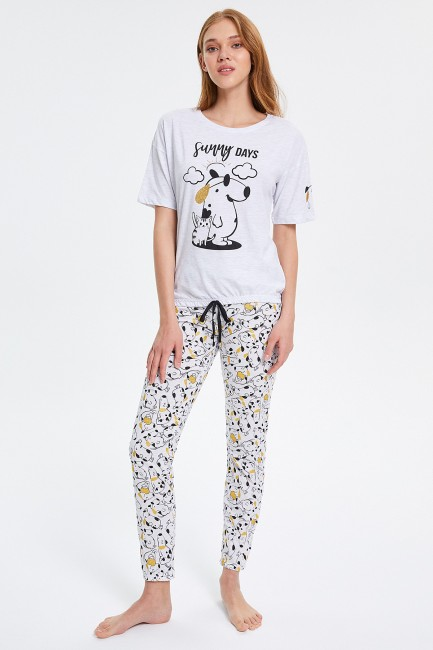 Bross - Dog Patterned Half Sleeved Women's Pyjama Set