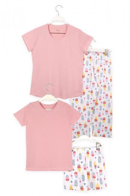 Bross - Dondurma Desenli Anne Çocuk Kombin Pijama Takımı