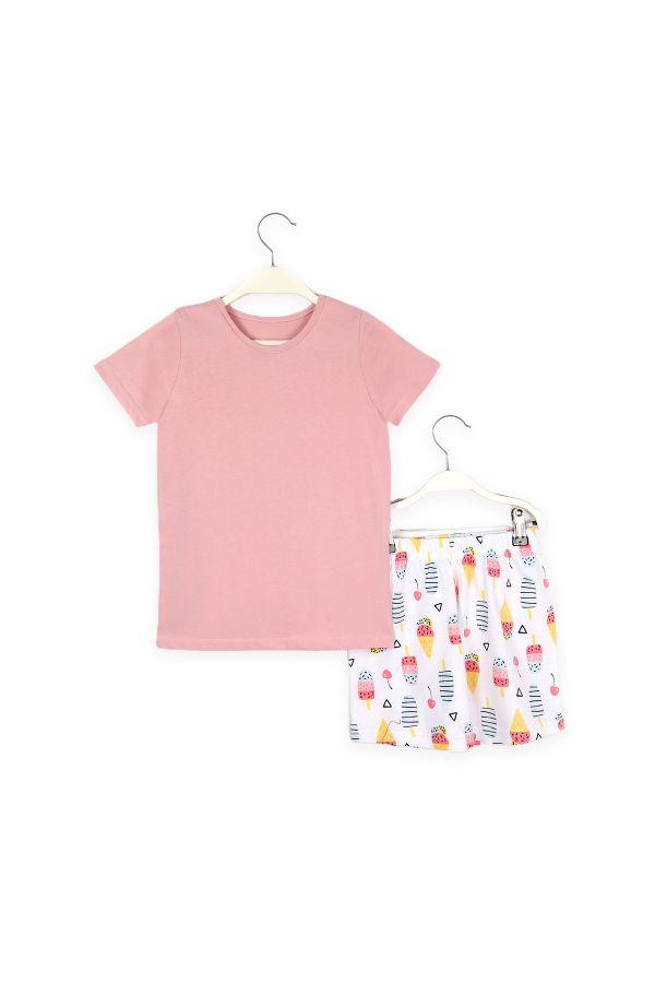 Dondurma Desenli Anne Çocuk Kombin Pijama Takımı