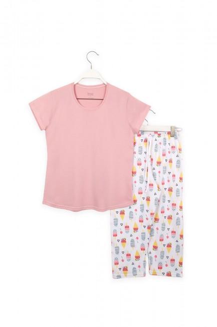 Dondurma Desenli Anne Çocuk Kombin Pijama Takımı - Thumbnail