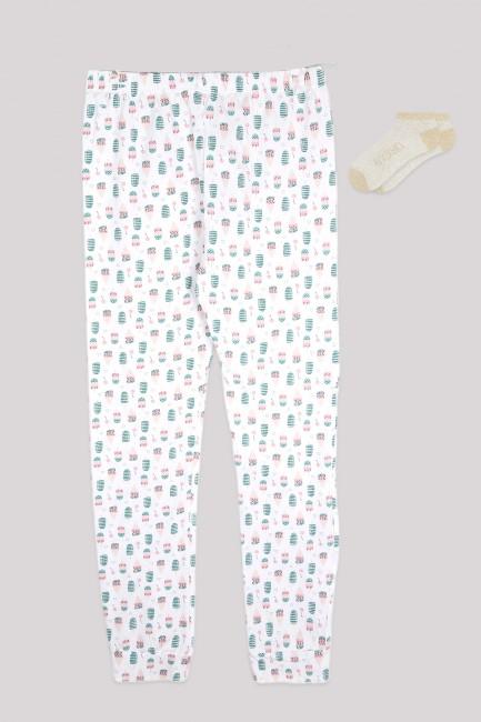 Bross - Dondurma Desenli Kadın Jogger ve Patik Çorap Kombini