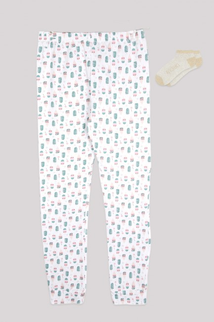 Bross - Ice Cream Patterned Women's Jogger and Booties Socks Combination