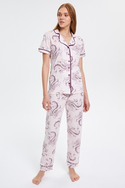 Bross - Buttoned Short-sleeved Women's Pajamas Set