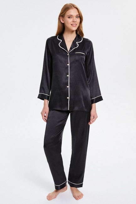 Bross - Buttoned Long-sleeved Women's Pajamas Set
