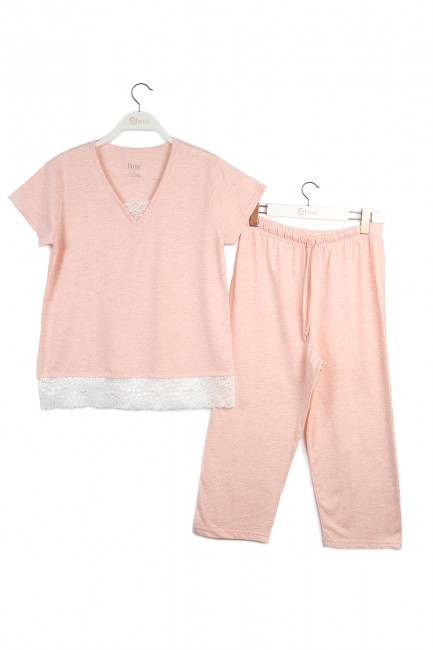 Boxed Short Sleeve Lace Mother's Day Pajamas Set - Thumbnail