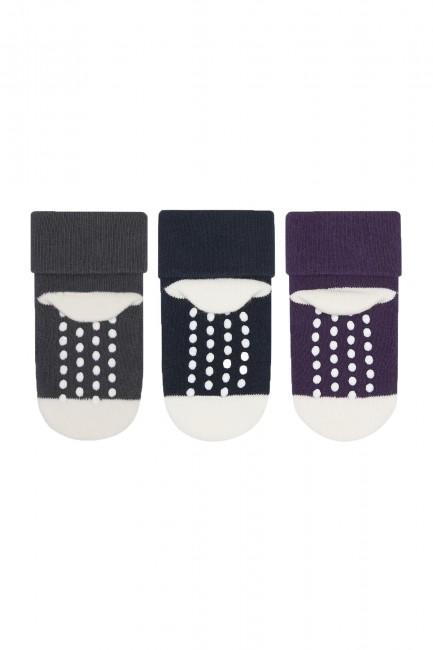 Bross 3-Pack Cute Heart Patterned Baby Towel Socks - Thumbnail