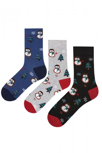 Bross - Bross 3-Pack New Year Snowman Patterned Men's Socks