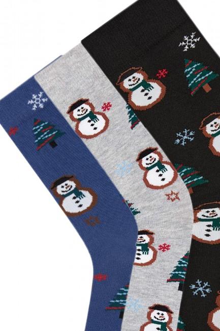 Bross 3-Pack New Year Snowman Patterned Men's Socks - Thumbnail