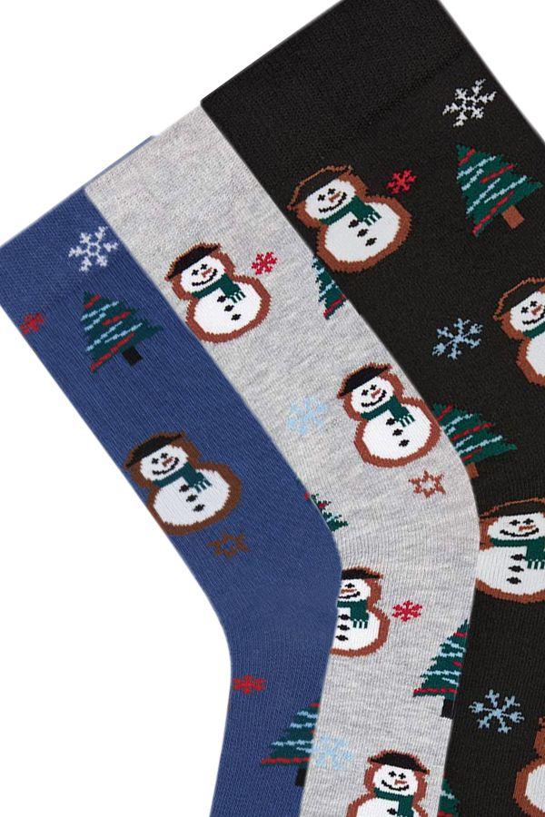 Bross 3-Pack New Year Snowman Patterned Men's Socks