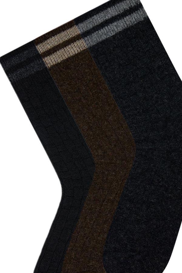 Bross 3-Pack Ringed Men's Wool Socks
