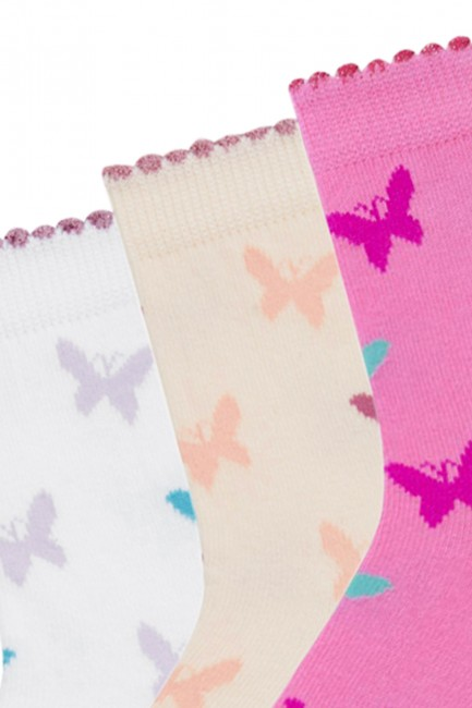 Bross 3-Piece Butterfly Patterned Children's Socks - Thumbnail