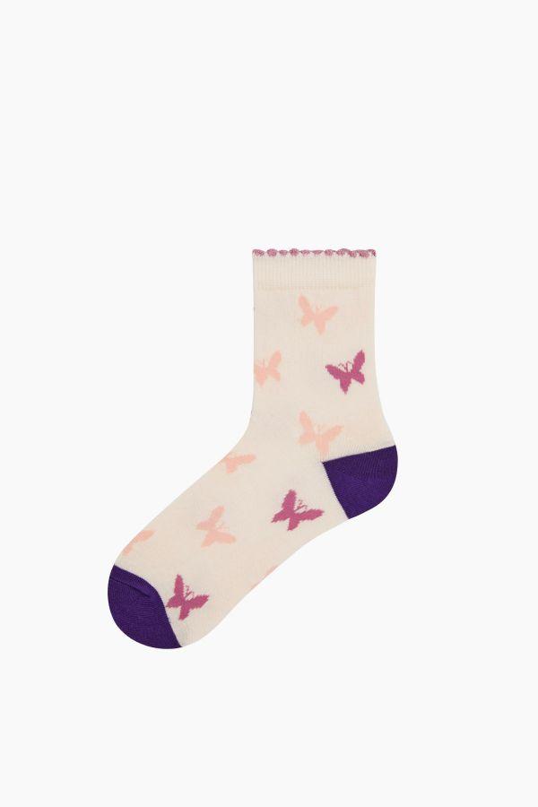 Bross 3-Piece Butterfly Patterned Children's Socks