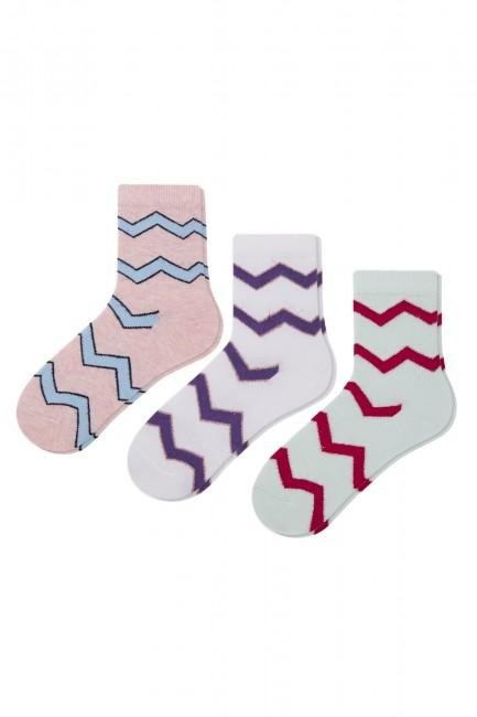 Bross - Bross 3-Piece Silvery Zigzag Patterned Children's Socks