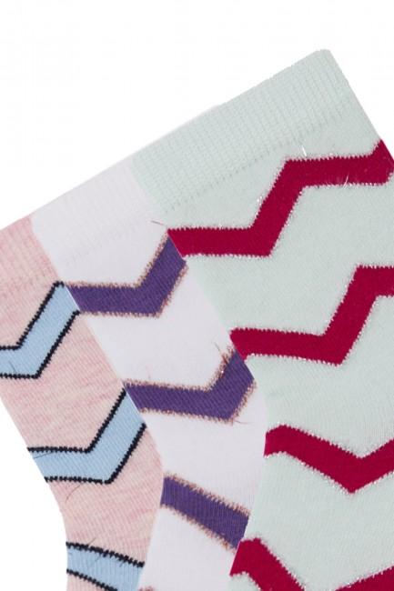 Bross 3-Piece Silvery Zigzag Patterned Children's Socks - Thumbnail