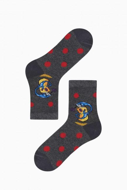 Bross 3-Piece Spray Patterned Children's Socks - Thumbnail