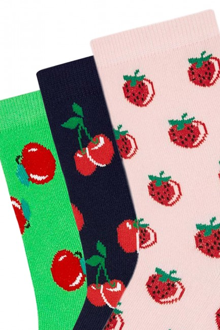 Bross 3 Pieces Red Fruit Patterned Women's Socks - Thumbnail