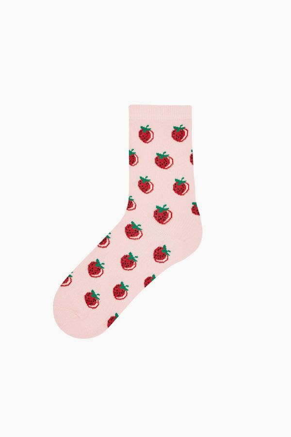 Bross 3 Pieces Red Fruit Patterned Women's Socks