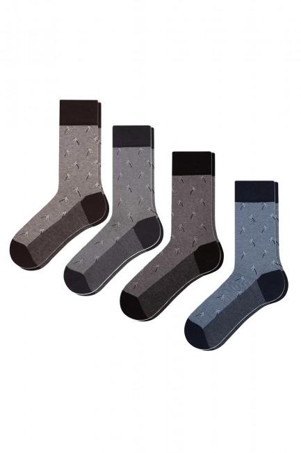 Bross - Bross 4 Pack Palm Jacquard Men's Socks