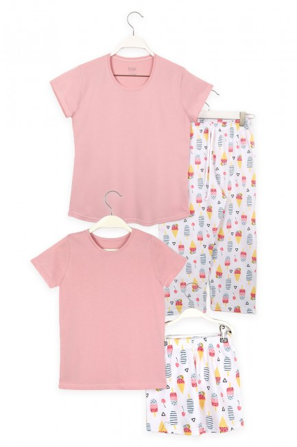 Bross - Ice Cream Patterned Mother Child Combined Pajamas Set