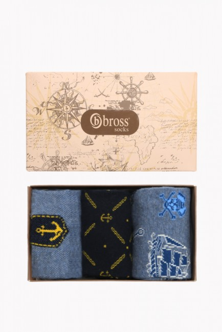 Bross - Marine Collection Boxed 3-Piece Men's Socks 1