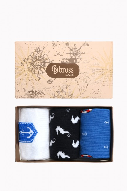 Marine Collection Boxed 3-Piece Men's Socks 2 - Thumbnail
