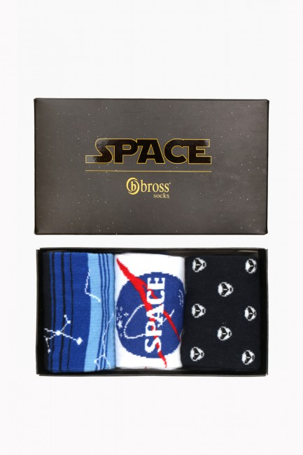 Space Collection Boxed 3 Pack Men Socks 2 - Thumbnail