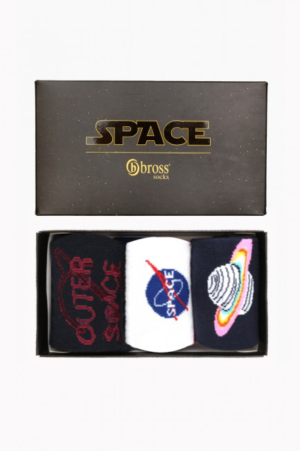 Space Collection Boxed 3 Pack Women Socks 2 - Thumbnail