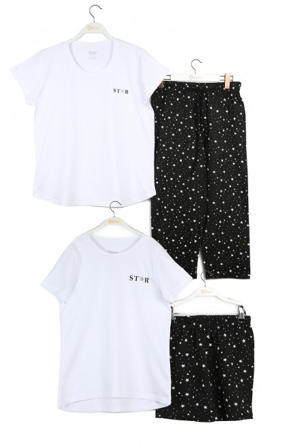 Bross - Star Patterned Mother Child Combined Pajamas Set