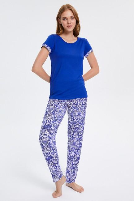 Bross - Ethnic Patterned Short Sleeved Women's Pyjama Set