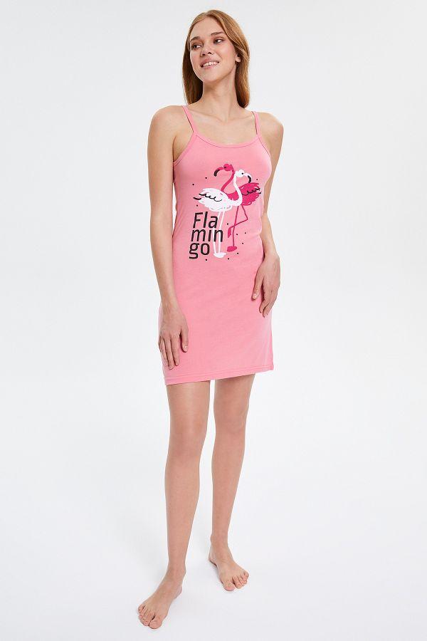 Flamingo Desenli Askılı Kadın Elbise Pijama