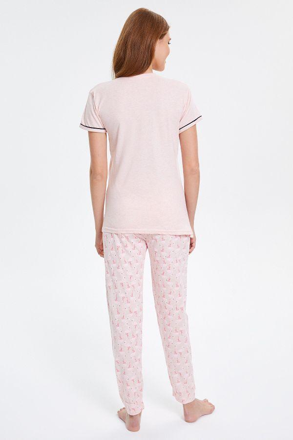 Flamingo Desenli Kısa Kollu Kadın Pijama Takımı