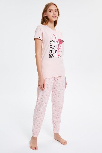 Flamingo Desenli Kısa Kollu Kadın Pijama Takımı - Thumbnail