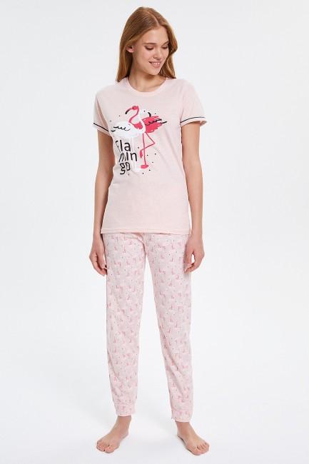 Bross - Flamingo gemusterte Kurzarm Damen Pyjamas Set