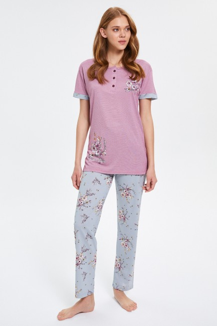 Bross - Flowers Patterned Buttoned Short Sleeve Women's Pajamas Set