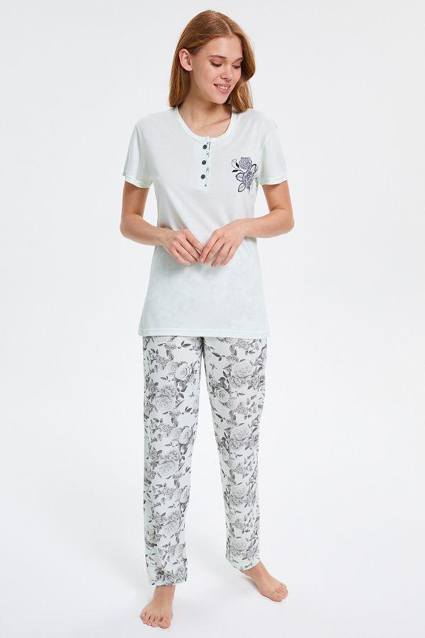 Gül Desenli Düğmeli Kısa Kollu Kadın Pijama Takımı