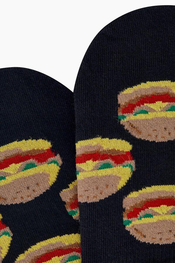 Hamburger Desenli Babet Erkek Çorabı