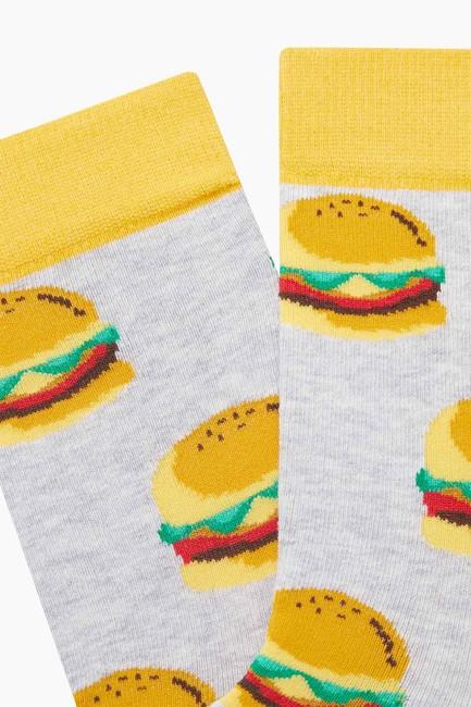 Bross Hamburger Desenli Erkek Çorabı - Thumbnail