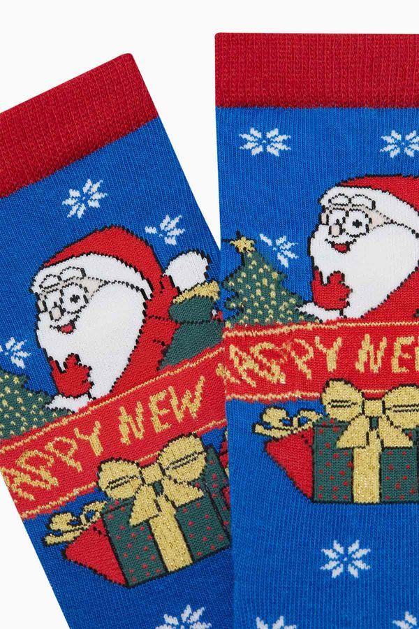 Happy New Year Written Pattern Silvery Ladies Socks