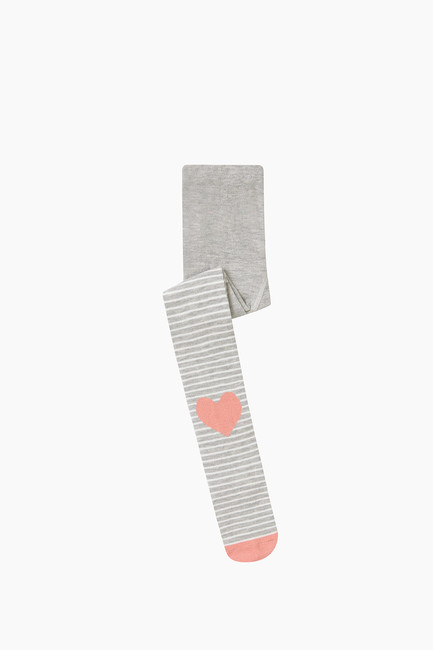 Heart Pattern Kids Tights - Thumbnail