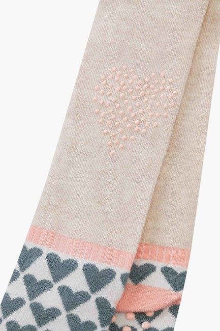 Heart Printed Sole&Knee Antislip Baby Tights - Thumbnail